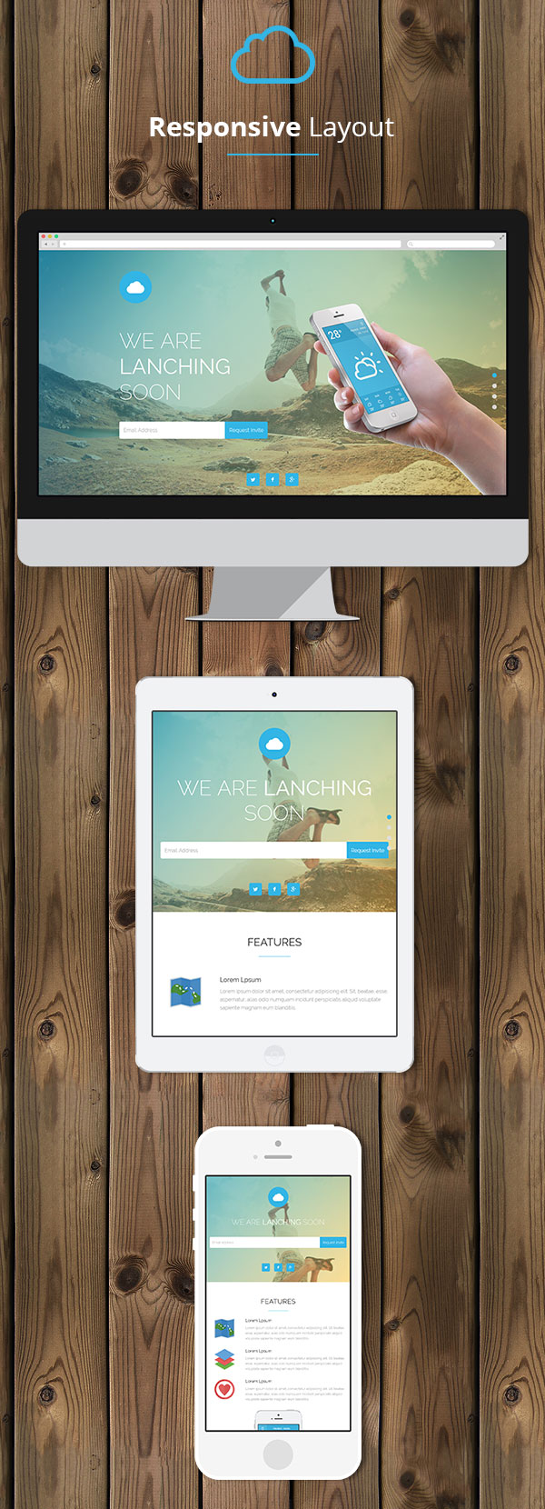 Cloud - Mobile App Coming Soon Responsive Template - 4